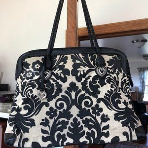 Brighton Black/Cream Damask Print Tote Bag